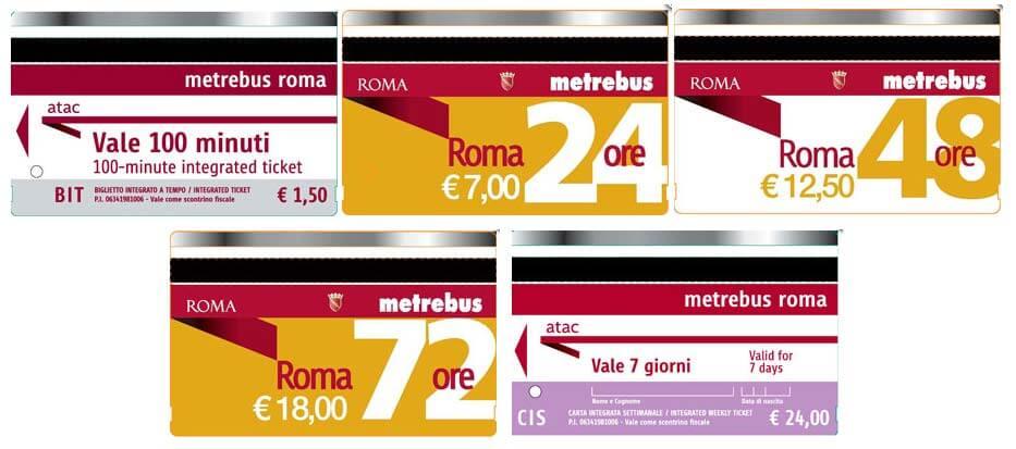 Билеты на общественный транспорт Рима