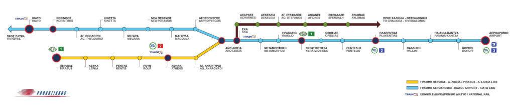 Схема пригородных электричек Афин