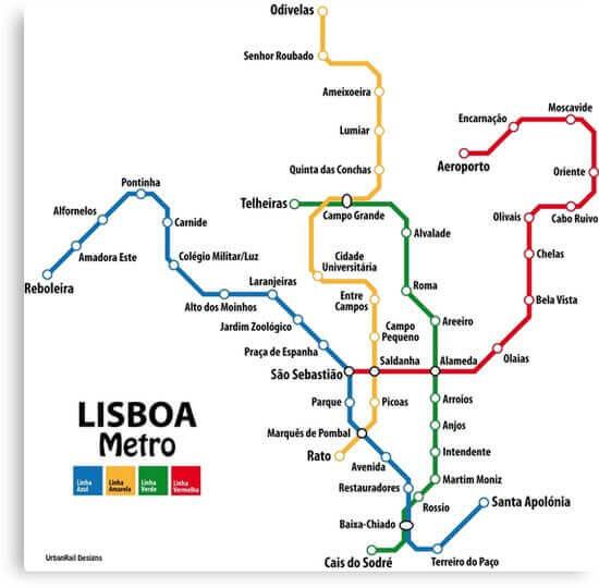 Схема метрополитена Лиссабона