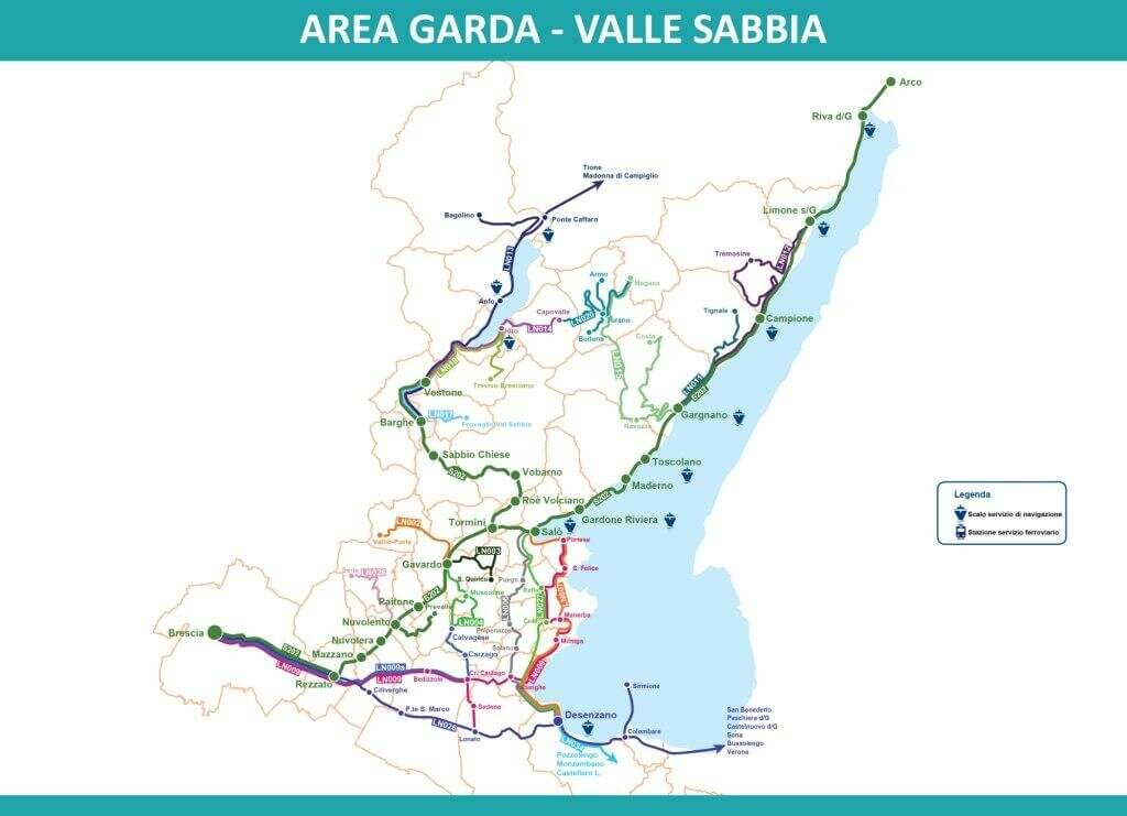 Карта автобусных маршрутов озера Гарда