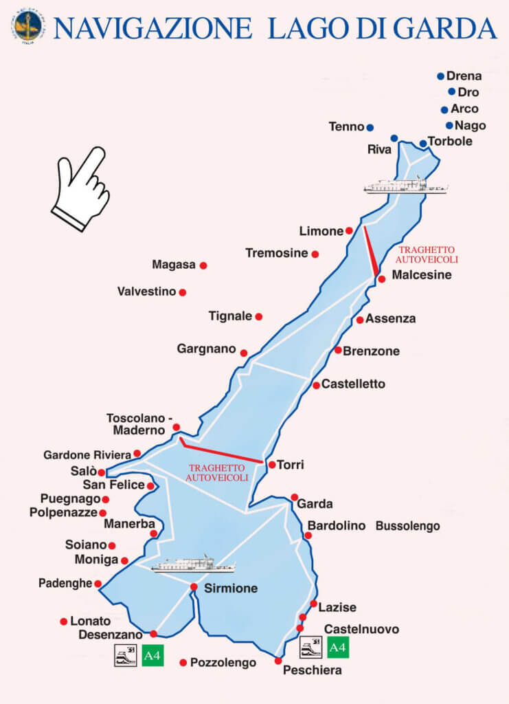 Схема навигации озера Гарда