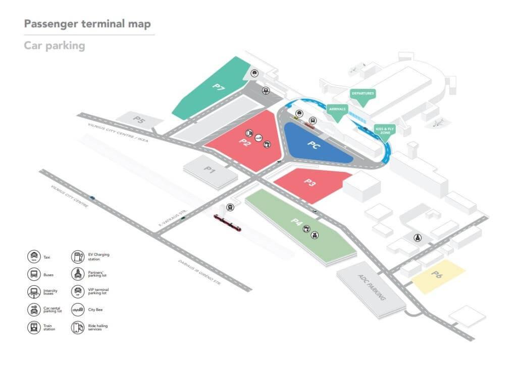 Схема парковок в аэропорту Вильнюса