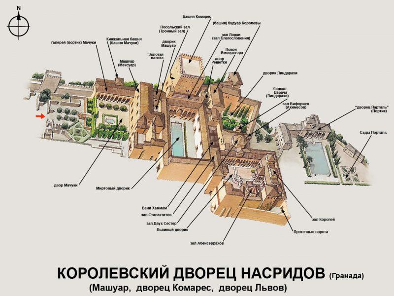 Карта Дворцов Насридов